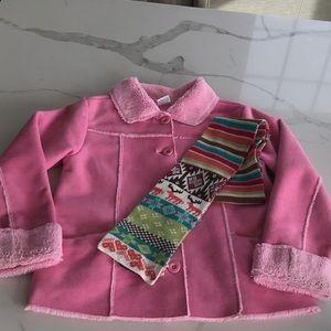 GYMBOREE Pink sherpa jacket with GAP scarf